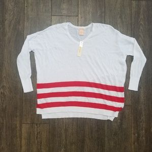 Sweet Romeo Red white striped top - small